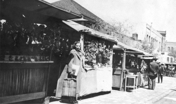 Olvera St, Woman Standing with Vendors