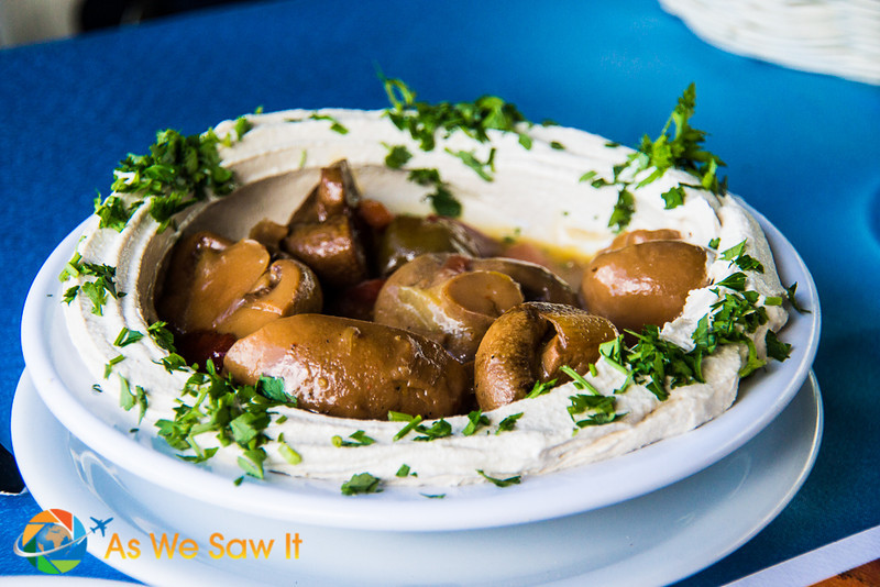 Sautéed mushrooms served with Hummus... Was one of the best dishes we had in Israel.