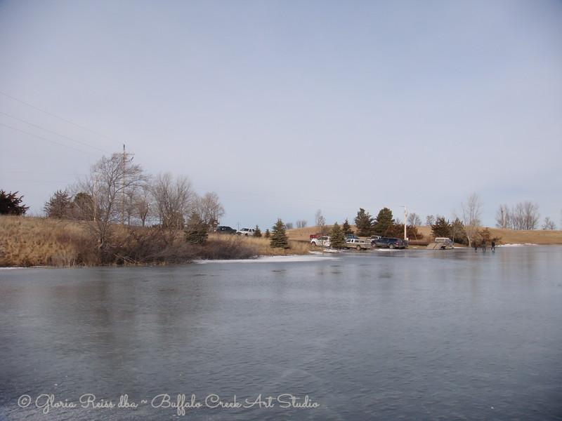 shiny frozen ice on the lake, ice fishing