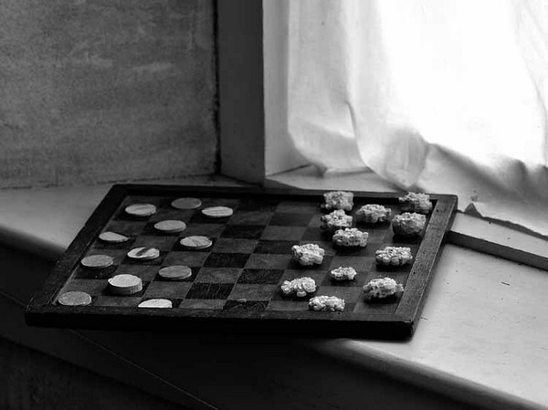 Checker with Cobs BW.jpg