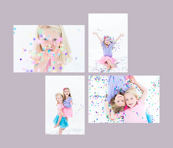 Confetti photos for children with pure white backdrop. Studio confetti photos. Charley&Lolo 09/23/2017
