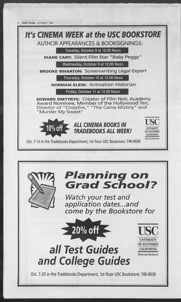 Daily Trojan, Vol. 129, No. 27, October 07, 1996