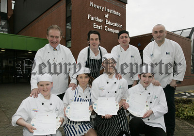 Pictured are the finalists of the Champion School Chef 2007  with judges, Denis Broderick, Rodger Moynihan and Justin Hand. Also pictured is Nino MacMahon Vice-Chairperson of the Northern Ireland Association of Chefs and Cooks. 07W6N9