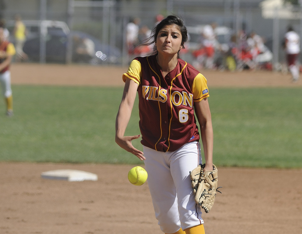. LONG BEACH, CALIF. USA -- Wilson\'s Gabrielle Juarez (6) delivers a pitch against Lakewood during their Moore League game in Lakewood, Calif., on May 2, 2013. Lakewood defeated Wilson 11-1 in five innings.  Photo by Jeff Gritchen / Los Angeles Newspaper Group