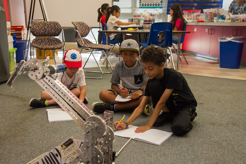 Students of Writing camp are asked to write in their journals about the robot.