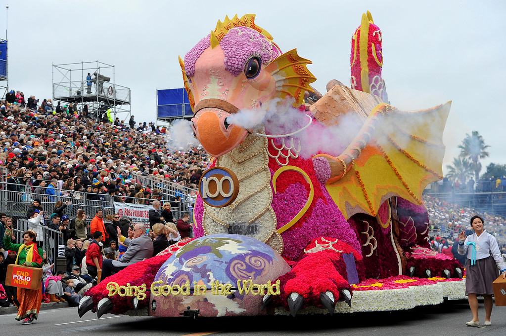 . The Rotary Rose Parade Float Committee float, winner of the Princesses\' Trophy, Most beautiful float 35 rolls along the parade route of the 128th Rose Parade in Pasadena, Calif., Monday, Jan. 2, 2017. (AP Photo/Michael Owen Baker)
