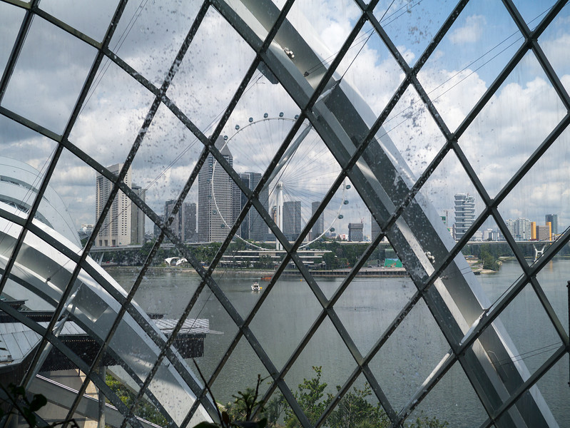 Looking out the dome at the Singapore flyer