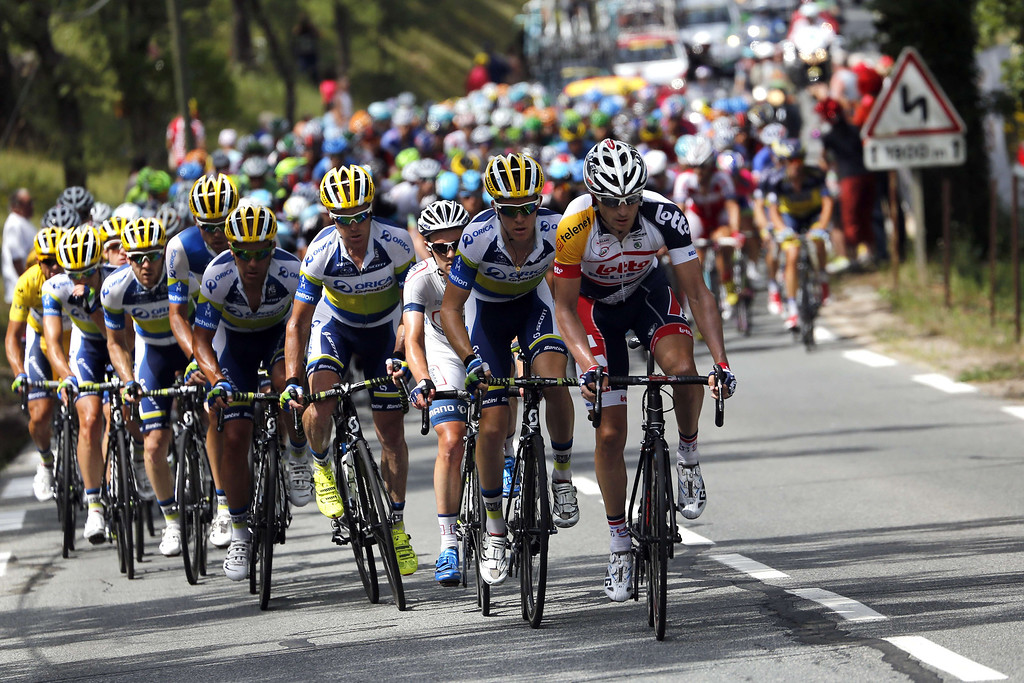 . The pack rides in the pack during the 228.5 km fifth stage of the 100th edition of the Tour de France cycling race on July 3, 2013 between Cagnes-sur-Mer and Marseille, southern France.  AFP PHOTO / JEFF  PACHOUD/AFP/Getty Images