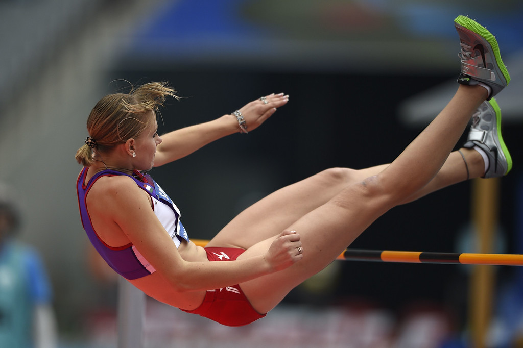 . Tajikistan\'s Kristina Pronzhenko competes in the women\'s heptathlon high jump athletics event during the 17th Asian Games at the Incheon Asiad Main Stadium in Incheon on September 28, 2014. MARTIN BUREAU/AFP/Getty Images