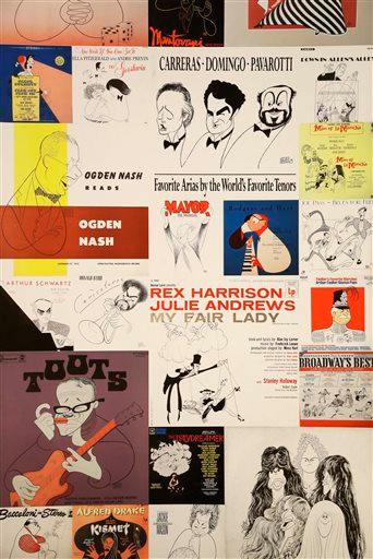 Description of . A collage of album covers by Al Hirschfeld are displayed in an exhibit on the artist at the Library for the Performing Arts in New York, Wednesday, Oct. 16, 2013. The exhibit, which opens Thursday, Oct. 17, 2013, showcases work through Hirschfeld's career. (AP Photo/Seth Wenig)