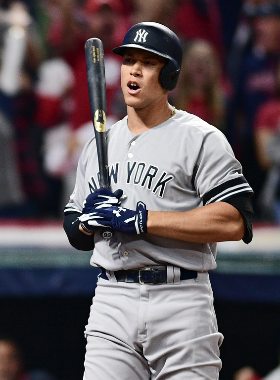 . New York Yankees\' Aaron Judge reacts after striking out against Cleveland Indians starting pitcher Trevor Bauer during the sixth inning of Game 1 of a baseball American League Division Series, Thursday, Oct. 5, 2017, in Cleveland. (AP Photo/David Dermer)