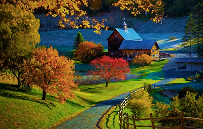 BARNS IN FALL