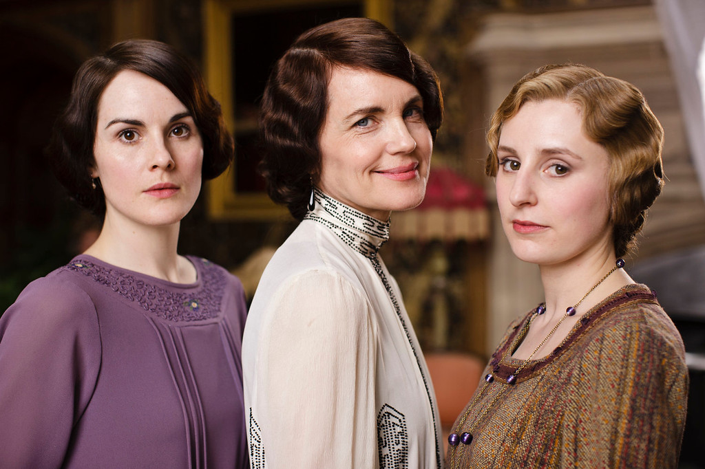 """. Michelle Dockery as Lady Mary, Elizabeth McGovern as Lady Cora and Laura Carmichael as Lady Edith. The fourth season of \""""Downton Abbey\"""", set in 1922, sees the return of our much loved characters. As they face new challenges, the Crawley family and the servants who work for them remain inseparably interlinked.   (Photo by Nick Briggs/Carnival Films)"""