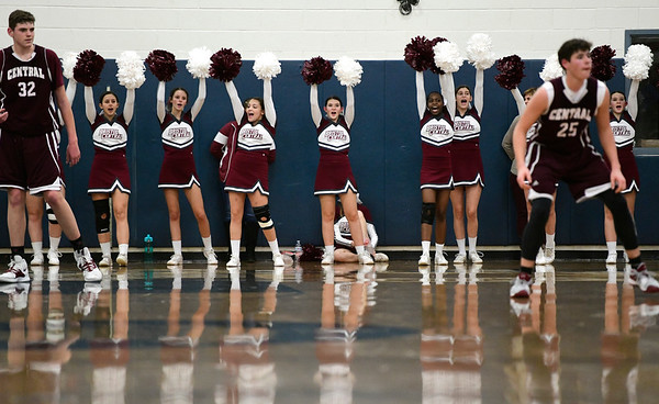 1/18/2019 Mike Orazzi | Staff Bristol Central High School Cheerleasders during Friday nights boys basketball game at Eastern.