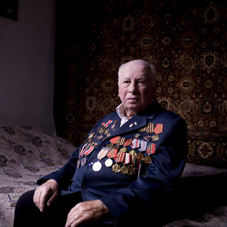 . Soviet Jewish World War veteran Matvey Gershman, 90, poses for a portrait at his house in the southern Israeli city of Ashkelon. Gershman joined the Red Army\'s air force in 1941. Later, he was transferred to the 5th Shock Army, and fought mostly in Ukraine, after which he joined the 8th Guard Army and took part in the Battle of Berlin, including the famous battle for the Reichstag. Gershman immigrated to Israel from Gomel, today\'s Belorussia, in 1990.  About 500,000 Soviet Jews served in the Red Army during World War Two, and the majority of those still alive today live in Israel.   (AP Photo/Oded Balilty)