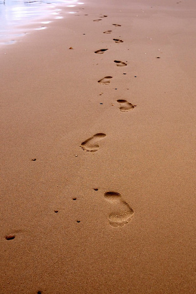 Footprints on the Beach at Sea Palling