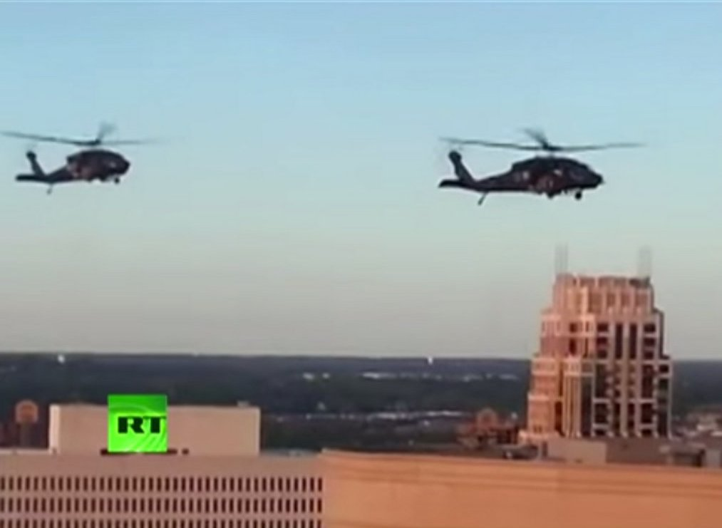 ". <p><b> Citizens of Minneapolis and Saint Paul were shocked Monday night when they suddenly saw these in the skies over their fair cities on a quiet August evening � </b> </p><p> A. Military helicopters </p><p> B. Air Force jets </p><p> C. Snow flurries </p><p><b><a href=""http://www.twincities.com/localnews/ci_26362024/low-flying-copters-alarm-st-paul-residents\"" target=\""_blank\"">LINK</a></b> </p><p>   (Screen grab from YouTube)</p>"
