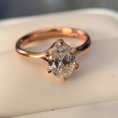1.05ct Oval Cut Diamond Solitaire, GIA H SI1