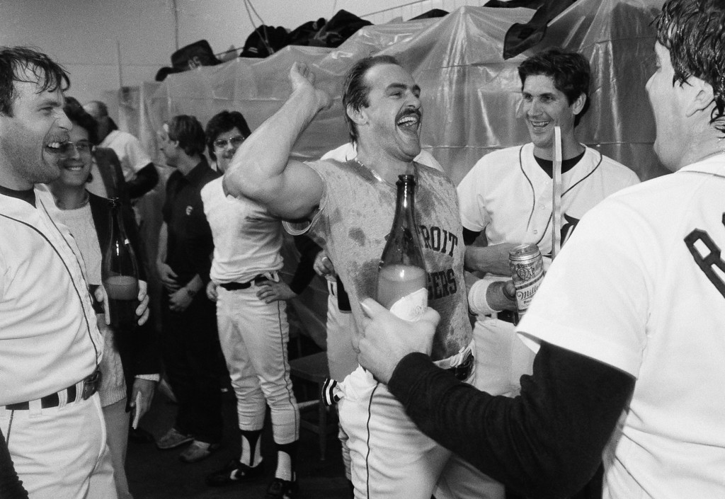 . Detroit\'s Kirk Gibson (left) celebrates with teammates Dan Whitmer and Dave Rozema, after on Friday, Oct. 5, 1984, American League Championship win over the Kansas City Royals in Detroit.  (AP Photo/Jim Mone)