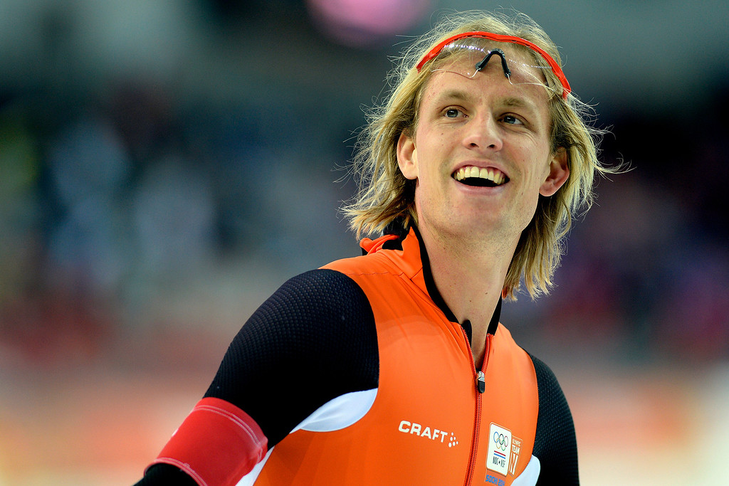 . Ronald Mulder of the Netherlands reacts to winning a bronze medal to go along with his twin brother Michel\'s gold medal during the speed skating men\'s 500-meter at Adler Arena. Sochi 2014 Winter Olympics on Monday, February 10, 2014. (Photo by AAron Ontiveroz/The Denver Post)