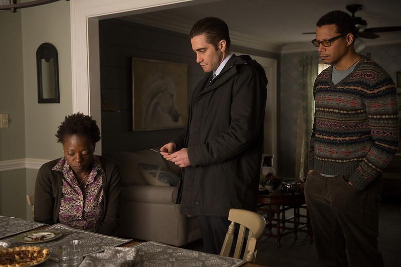 . (L-R) Viola Davis as Nancy Birch, Jake Gyllenhaal as Detective Loki and Terrance Howard as Franklin Birch in \'Prisoners.\' (Wilson Webb/Warner Bros. Pictures)