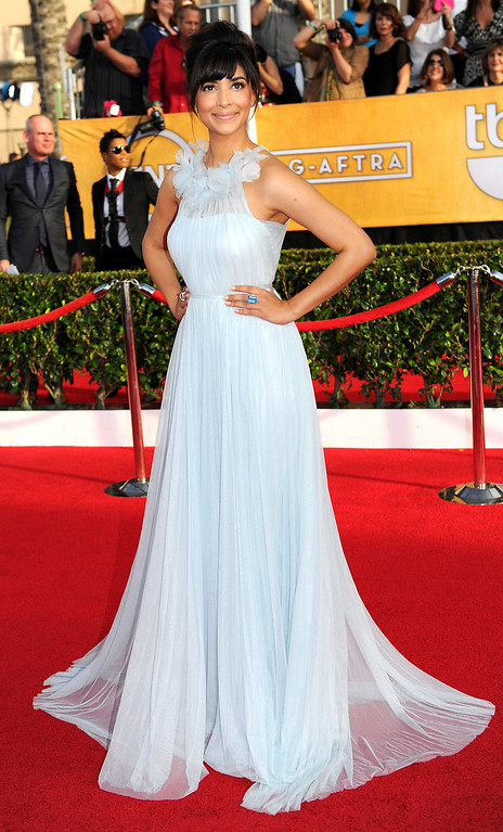 . Hannah Simone arrives at the 20th Annual Screen Actors Guild Awards  at the Shrine Auditorium in Los Angeles, California on Saturday January 18, 2014 (Photo by Michael Owen Baker / Los Angeles Daily News)