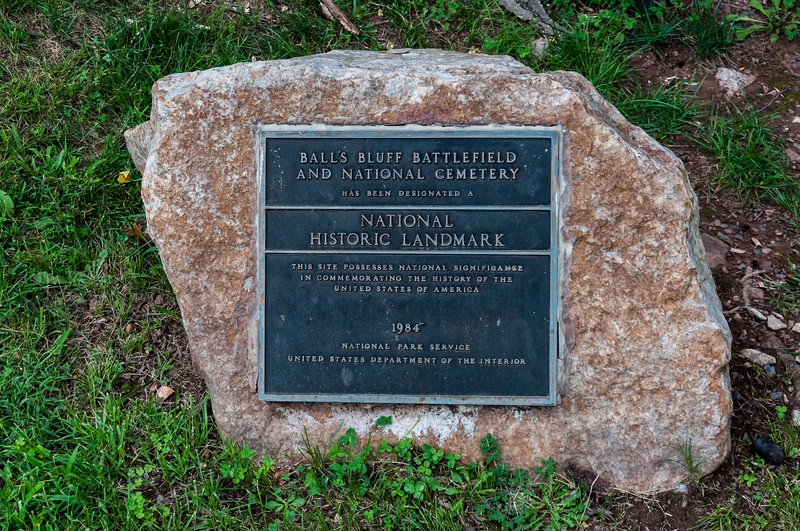 Plaque identifying Ball's Bluff Battlefield and National Cemetery as a National Historic Landmark.