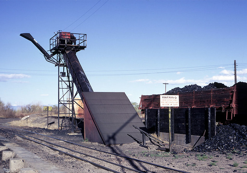 The Red Devil coal loader.   Red Devil was a brand name, and the Rio Grande had two of these on the narrow gauge, this one at Alamosa and a second at Antonito.  They replaced the last of the trestle style gravity coal bins.  May 1968.