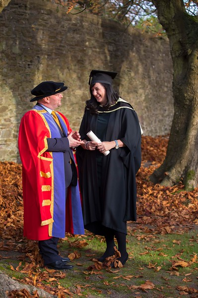 02/11/2016. Waterford Institute of Technology (WIT) Conferring Ceremonies November 2016. Pictured is Amy Hickey from New Ross who graduated with an MA in Management in Education and Dr Derek O'Byrne, Registrar WIT. Picture: Patrick Browne