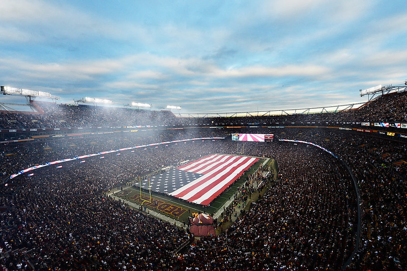. An American Flag is displayed prior to the NFC Wild Card Playoff Game between the Washington Redskins and the Seattle Seahawks at FedExField on January 6, 2013 in Landover, Maryland.  (Photo by Patrick McDermott/Getty Images)