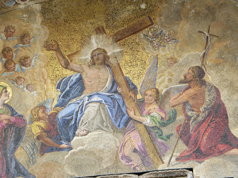 A variety of mosaics depicting the life of Christ adorn the exterior.  This large one is the Last Judgment.