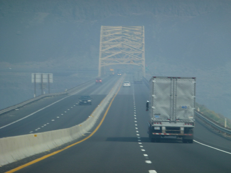 Coming on to a bridge, smoky from the wildfires miles away