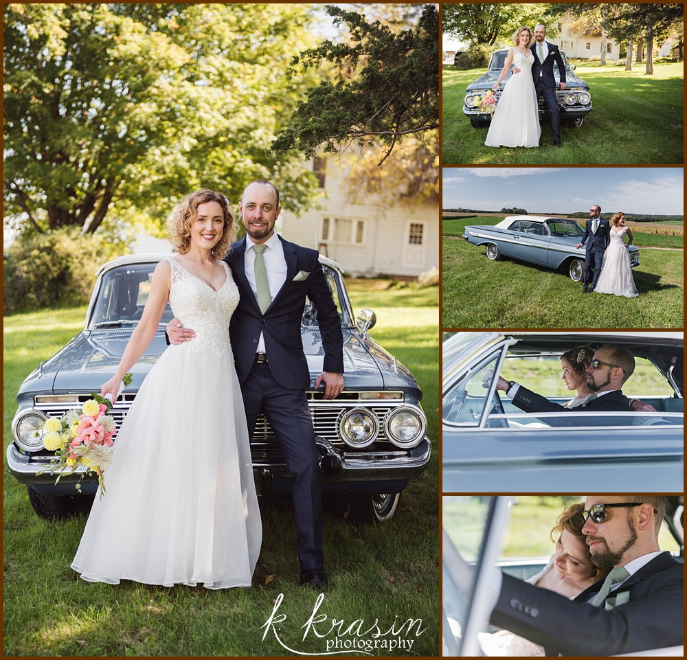 Collage of photos of bride and groom with car