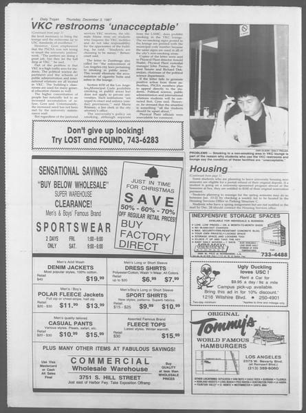 Daily Trojan, Vol. 105, No. 62, December 03, 1987