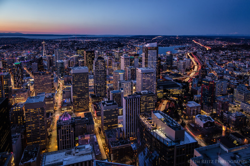 Downtown Seattle at dusk.
