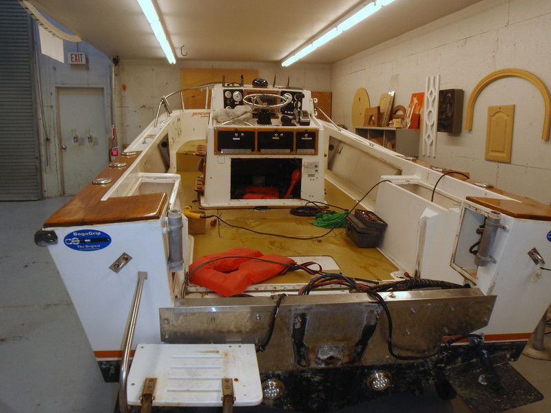 """12/9/2009  The """"Skimmer"""" is having a complete makeover this winter.  After 30 years of hard fishing and many exciting days on the water my """"baby"""" deserves some tender loving care.  The decks were going soft and the tanks needed inspection or replacement.   I intend to also rebuild the transom, upgrade electronics, new trim tabs and possibly a new paint job.  To follow the progress of this project go to   http://skimmer.smugmug.com/Boat-Maintenance/Skimmer-Makeover/10633412_iftzT#739629695_JPWKg"""
