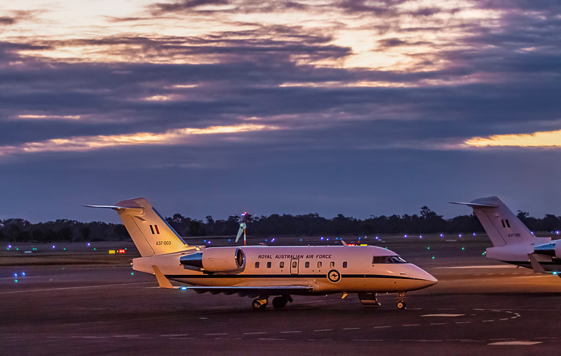 RAAF Bombardier Challenger 604 A37-003 at Rockhampton Airport 13-07-2017.