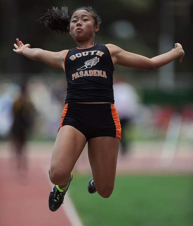 . South Pasadena\'s Nina Acebo in the long jump during the CIF-SS track & Field championship finals in Hilmer Stadium on the campus of Mt. San Antonio College on Saturday, May 18, 2013 in Walnut, Calif.  (Keith Birmingham Pasadena Star-News)