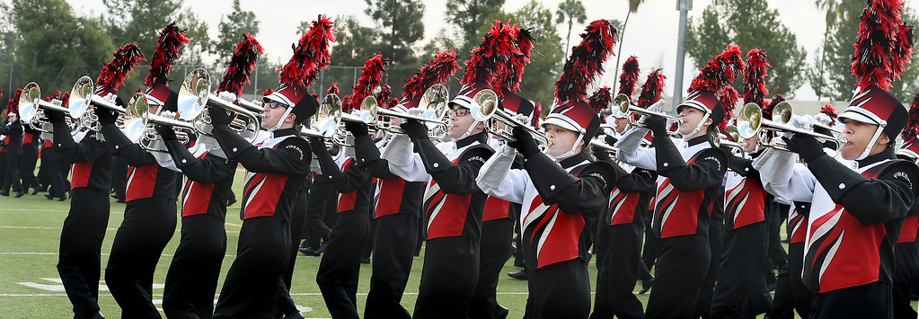 . Lakota West Marching Firebirds from West Chester, Ohio  performing at Bandfest Tuesday, December 30, 2014.  These feature bands selected to participate in the 2015 Rose Parade. Over the course of two days, each band, along with its auxiliary performers, will present the field show that has led to its success. Three Bandfest events will take place at Pasadena City College on December 29 and 30, 2014..(Photo by Walt Mancini/Pasadena Star-New)