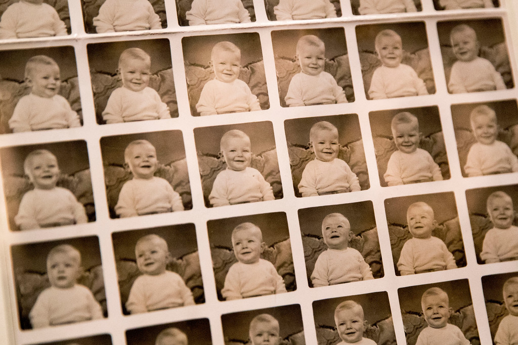 """. A contact sheet of photographs of David Bowie when he was 10 months old in 1947 are on display during the media preview of the \""""David Bowie is\"""" exhibit at the Brooklyn Museum, Wednesday, Feb. 28, 2018, in New York. The exhibit opens to the public March 2nd and runs through July 15, 2018. (AP Photo/Mary Altaffer)"""