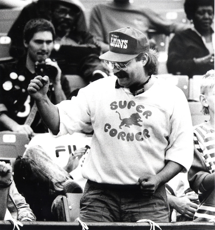 """. File Photo: September 4, 1988.  Richard Karsnick of Westland, sits in the \""""Super Corner\"""" at the Pontiac Silverdome were he has had tickets for 10 years"""