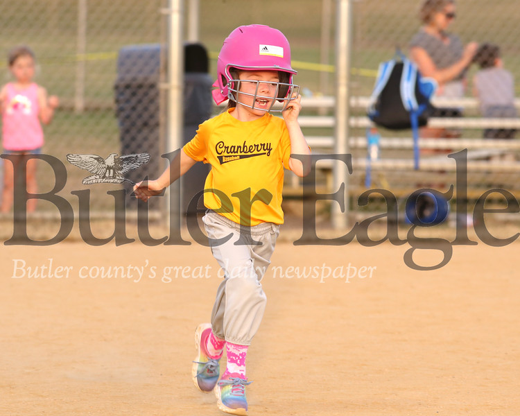 Mary Laviviere, 6, runs to first after a hit in Cranberry 6U little league Wednesday. Seb Foltz/Butler Eagle 07/16/20