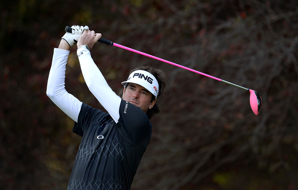 . Bubba Watson hits a tee shot during the final round of the Northwestern Mutual World Challenge golf tournament at Sherwood Country Club, Sunday December 8, 2013, in Thousand Oaks, Calif.(Andy Holzman/Los Angeles Daily News)