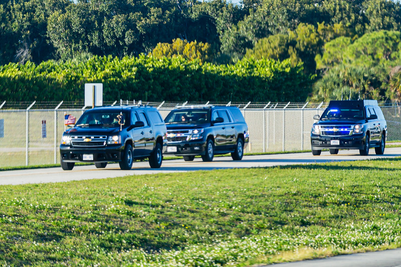 President Donald J. Trump's motorcade travels on Perimeter Road around Palm Beach International Airport on Sunday, January 05, 2020. [JOSEPH FORZANO/palmbeachpost.com]