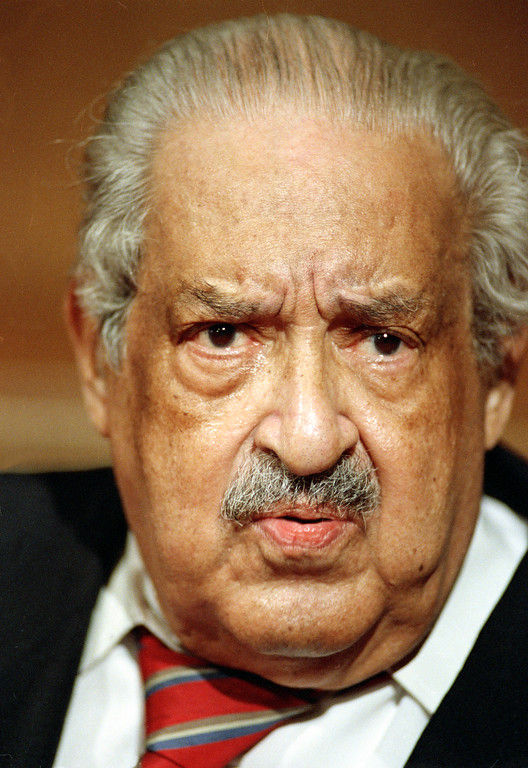 . Retiring Supreme Court Associate Justice Thurgood Marshall  faces cameras and reporters at a news conference in the U.S. Supreme Court building in Washington, D.C., Friday, June 28, 1991.  (AP Photo/Charles Tasnadi)