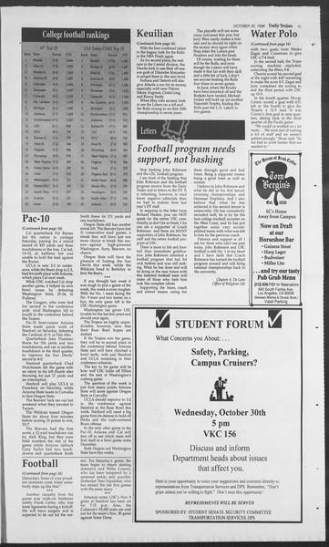 Daily Trojan, Vol. 129, No. 44, October 30, 1996