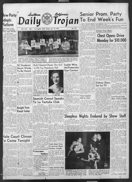 Daily Trojan, Vol. 43, No. 121, April 25, 1952