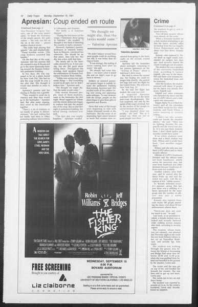 Daily Trojan, Vol. 116, No. 10, September 16, 1991