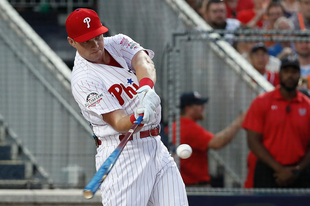 . Philadelphia Phillies Rhys Hoskins (17) hits during the MLB Home Run Derby, at Nationals Park, Monday, July 16, 2018 in Washington. The 89th MLB baseball All-Star Game will be played Tuesday. (AP Photo/Alex Brandon)