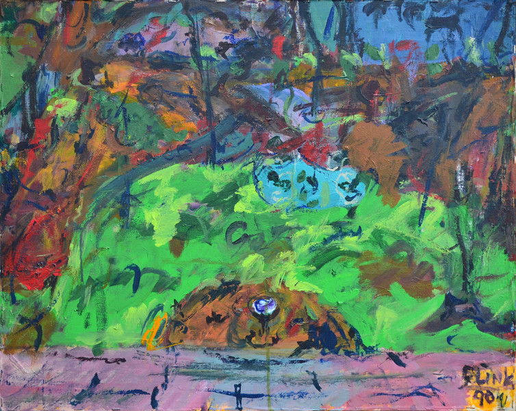 "Roof and Yard, Oil on Canvas, 24""h30""w, 1991. .jpg"